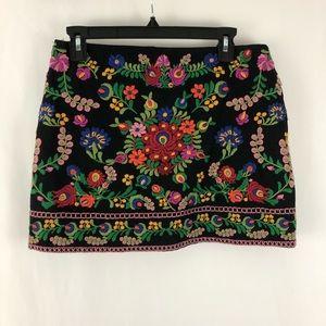 Zara Cotton Floral Embroidered Mini Skirt